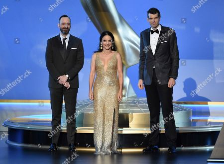 Tony Hale, Julia Louis-Dreyfus, Timothy Simons. Tony Hale, from left, Julia Louis-Dreyfus and Timothy Simons appear on stage at the 71st Primetime Emmy Awards, at the Microsoft Theater in Los Angeles