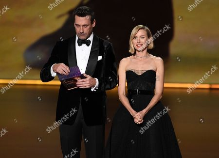 Naomi Watts, Jon Hamm. Naomi Watts, left, and Jon Hamm present the award for outstanding limited series at the 71st Primetime Emmy Awards, at the Microsoft Theater in Los Angeles