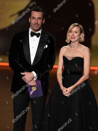 Stock Image of Naomi Watts, Jon Hamm. Naomi Watts, left, and Jon Hamm present the award for outstanding limited series at the 71st Primetime Emmy Awards, at the Microsoft Theater in Los Angeles