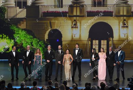 """Reid Scott, Matt Walsh, Anna Chlumsky, Gary Cole, Tony Hale, Julia Louis-Dreyfus, Timothy Simons, Clea DuVall, Sarah Sutherland, Kevin Dunn, Sam Richardson. Reid Scott, from left, Matt Walsh, Anna Chlumsky, Gary Cole, Tony Hale, Julia Louis-Dreyfus, Timothy Simons, Clea DuVall, Sarah Sutherland, Kevin Dunn and Sam Richardson, from the cast of """"Veep,"""" present the award for outstanding lead actress in a limited series or movie at the 71st Primetime Emmy Awards, at the Microsoft Theater in Los Angeles"""