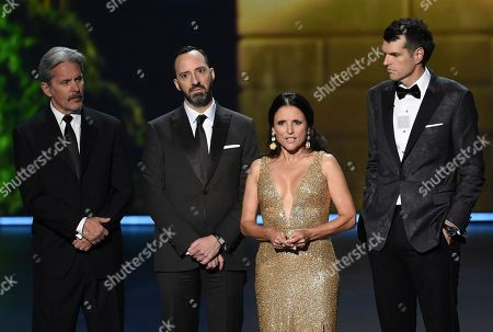 """Gary Cole, Tony Hale, Julia Louis-Dreyfus, Timothy Simons. Gary Cole, from left, Tony Hale, Julia Louis-Dreyfus and Timothy Simons, from the cast of """"Veep,"""" present the award for outstanding lead actress in a limited series or movie at the 71st Primetime Emmy Awards, at the Microsoft Theater in Los Angeles"""