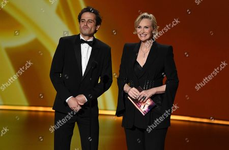 Luke Kirby, Jane Lynch. Luke Kirby, left, and Jane Lynch present the award for outstanding directing for a comedy series at the 71st Primetime Emmy Awards, at the Microsoft Theater in Los Angeles