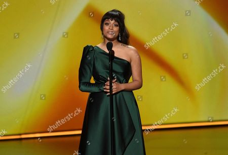 Lilly Singh speaks at the 71st Primetime Emmy Awards, at the Microsoft Theater in Los Angeles