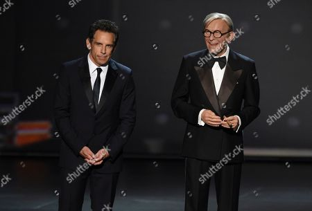 Ben Stiller, George Burns. Ben Stiller, left, and a wax figure of George Burns appear on stage at the 71st Primetime Emmy Awards, at the Microsoft Theater in Los Angeles