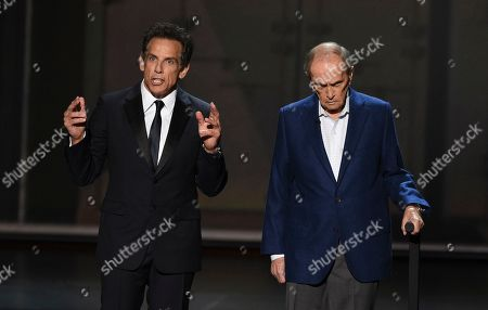 Ben Stiller, Bob Newhart. Ben Stiller, left, and Bob Newhart appear on stage at the 71st Primetime Emmy Awards, at the Microsoft Theater in Los Angeles