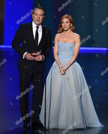 Stock Image of Timothy Hutton, Brittany Snow. Timothy Hutton, left, and Brittany Snow present the award for outstanding directing for a drama series at the 71st Primetime Emmy Awards, at the Microsoft Theater in Los Angeles
