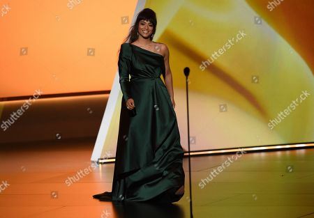 Lilly Singh appears on stage at the 71st Primetime Emmy Awards, at the Microsoft Theater in Los Angeles
