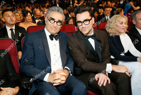 Eugene Levy, Daniel Levy. Eugene Levy, left, and Daniel Levy in the audience at the 71st Primetime Emmy Awards, at the Microsoft Theater in Los Angeles