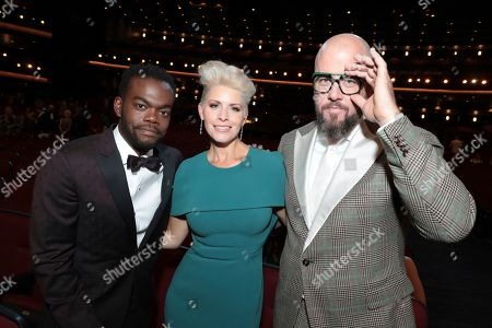 Stock Picture of William Jackson Harper, Rachel Reichard, Chris Sullivan. William Jackson Harper, from left, Rachel Reichard, and Chris Sullivan pose in the audience at the 71st Primetime Emmy Awards, at the Microsoft Theater in Los Angeles