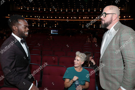 William Jackson Harper, Rachel Reichard, Chris Sullivan. William Jackson Harper, from left, Rachel Reichard, and Chris Sullivan speak in the audience at the 71st Primetime Emmy Awards, at the Microsoft Theater in Los Angeles