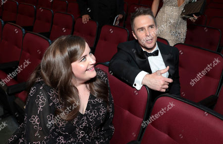 Aidy Bryant, Sam Rockwell. Aidy Bryant, left, and Sam Rockwell in the audience at the 71st Primetime Emmy Awards, at the Microsoft Theater in Los Angeles