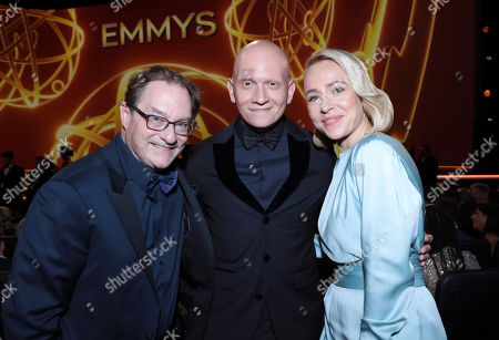 Stock Image of Stephen Root, Anthony Carrigan, Sarah Goldberg. Stephen Root, from left, Anthony Carrigan, and Sarah Goldberg pose in the audience at the 71st Primetime Emmy Awards, at the Microsoft Theater in Los Angeles