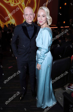 Stock Image of Anthony Carrigan, Sarah Goldberg. Anthony Carrigan, left, and Sarah Goldberg pose in the audience at the 71st Primetime Emmy Awards, at the Microsoft Theater in Los Angeles