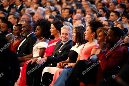 Sterling K. Brown, Ryan Michelle Bathe, Sandra Oh, Grace Oh, Michael Douglas, Catherine Zeta-Jones, Viola Davis, Julius Tennon. Sterling K. Brown, from right, Ryan Michelle Bathe, Sandra Oh, Grace Oh, Michael Douglas, Catherine Zeta-Jones, Viola Davis and Julius Tennon are in the audience at the 71st Primetime Emmy Awards, at the Microsoft Theater in Los Angeles