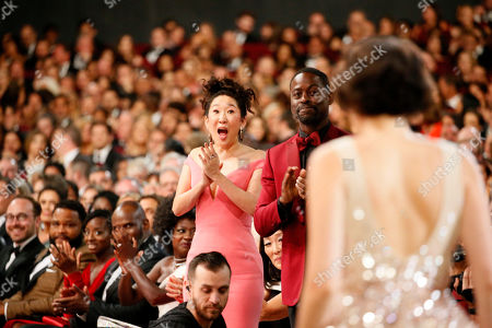 Sandra Oh, Sterling K. Brown, Phoebe Waller-Bridge. Sandra Oh, from left, Sterling K. Brown and Phoebe Waller-Bridge are in the audience at the 71st Primetime Emmy Awards, at the Microsoft Theater in Los Angeles