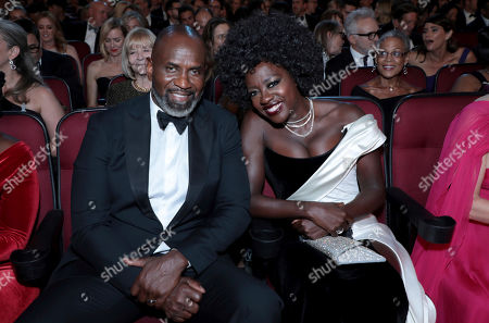 Stock Image of Genesis Tennon, Viola Davis. Genesis Tennon, left, and Viola Davis pose in the audience at the 71st Primetime Emmy Awards, at the Microsoft Theater in Los Angeles