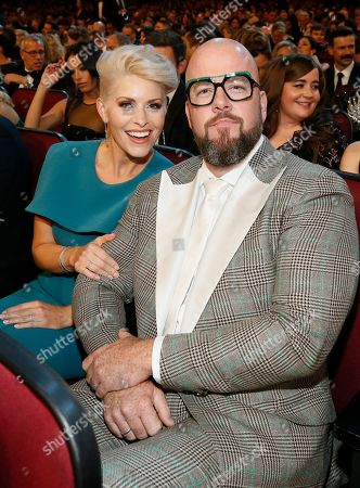 Stock Photo of Rachel Reichard, Chris Sullivan. Rachel Reichard, left, and Chris Sullivan in the audience at the 71st Primetime Emmy Awards, at the Microsoft Theater in Los Angeles