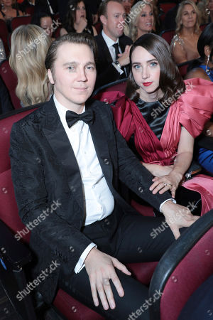 Stock Photo of Paul Dano, Zoe Kazan. Paul Dano, left, and Zoe Kazan pose in the audience at the 71st Primetime Emmy Awards, at the Microsoft Theater in Los Angeles