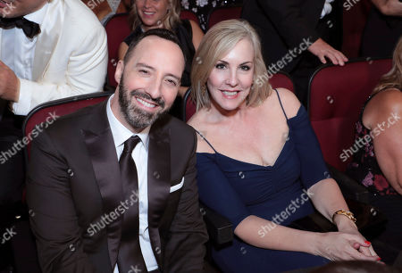 Tony Hale, Martel Thompson. Tony Hale, left, and Martel Thompson pose in the audience at the 71st Primetime Emmy Awards, at the Microsoft Theater in Los Angeles