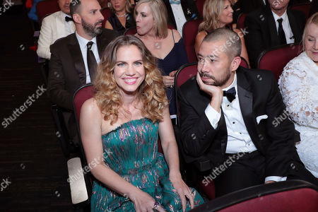 Stock Photo of Anna Chlumsky, Shaun So. Anna Chlumsky, left, and Shaun So pose in the audience at the 71st Primetime Emmy Awards, at the Microsoft Theater in Los Angeles