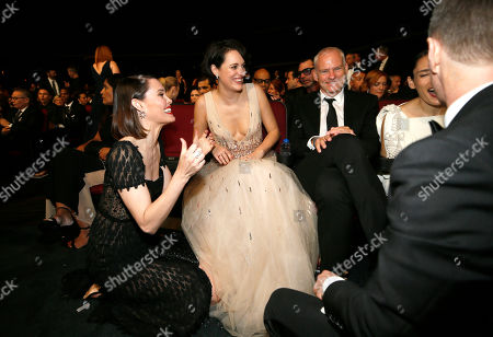 Leslie Bibb, Phoebe Waller-Bridge, Martin McDonagh, Sam Rockwell. Leslie Bibb, from left, Phoebe Waller-Bridge, Martin McDonagh and Sam Rockwell are seen in the audience at the 71st Primetime Emmy Awards, at the Microsoft Theater in Los Angeles