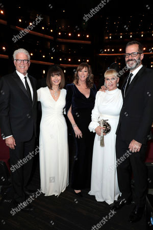 Ted Danson, Mary Steenburgen, Jane Rosenthal, Patricia Arquette, Eric White. Ted Danson, from left, Mary Steenburgen, Jane Rosenthal, Patricia Arquette, and Eric White pose in the audience at the 71st Primetime Emmy Awards, at the Microsoft Theater in Los Angeles