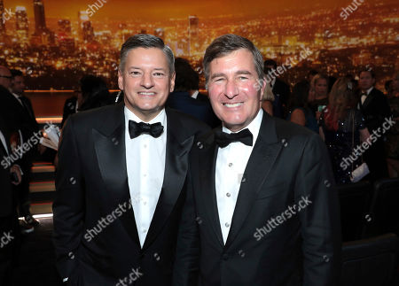 Ted Sarandos, Charles Rivkin. Hief Executive Officer of the Motion Picture Association Charles Rivkin, right, and Ted Sarandos pose in the audience at the 71st Primetime Emmy Awards, at the Microsoft Theater in Los Angeles