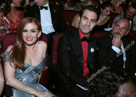 Isla Fisher, Sacha Baron Cohen. Isla Fisher, left, and Sacha Baron Cohen at the 71st Primetime Emmy Awards, at the Microsoft Theater in Los Angeles