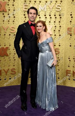 Sacha Baron Cohen, Isla Fisher. Sacha Baron Cohen, left, and Isla Fisher arrive at the 71st Primetime Emmy Awards, at the Microsoft Theater in Los Angeles