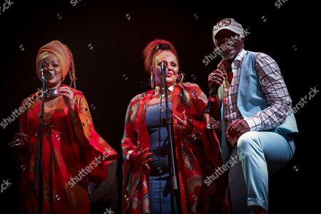 Ivorian reggae legend Seydou Kone (R), better known by his artistic name Alpha Blondy, performs in Nairobi, Kenya, 22 September 2019. The 66-year-old African reggae legend headlined the Kenyan music event Koroga Festival.