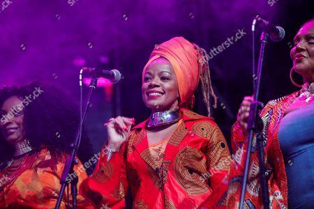 Backup singers of Ivorian reggae legend Seydou Kone, better known by his artistic name Alpha Blondy, perform on stage in Nairobi, Kenya, 22 September 2019. The 66-year-old African reggae legend headlined the Kenyan music event Koroga Festival.