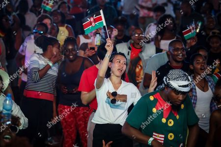 People dance as Kenyan artists warm up the crowd before Ivorian reggae artist Seydou Kone, better known by his artistic name Alpha Blondy, performs on stage in Nairobi, Kenya, 22 September 2019. The 66-year-old African reggae legend headlined the Kenyan music event Koroga Festival.