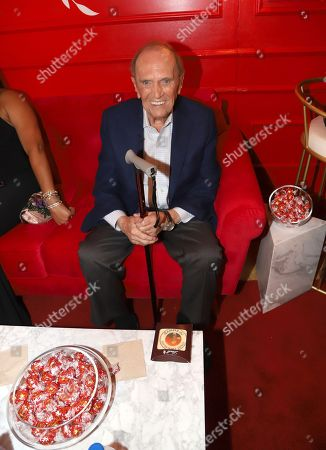 Bob Newhart poses at the Lindt Chocolate Lounge at the 71st Primetime Emmy Awards, at the Microsoft Theater in Los Angeles