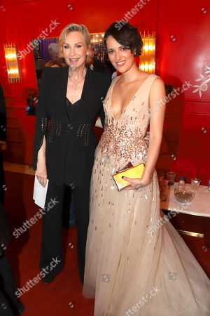 Jane Lynch, Phoebe Waller-Bridge. Jane Lynch, left, and Phoebe Waller-Bridge pose at the Lindt Chocolate Lounge at the 71st Primetime Emmy Awards, at the Microsoft Theater in Los Angeles