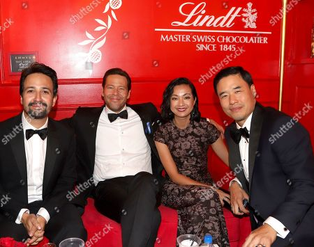Lin-Manuel Miranda, Ike Barinholtz, Jae W. Suh, Randall Park. Lin-Manuel Miranda, from left, Ike Barinholtz, Jae W. Suh and Randall Park pose at the Lindt Chocolate Lounge at the 71st Primetime Emmy Awards, at the Microsoft Theater in Los Angeles