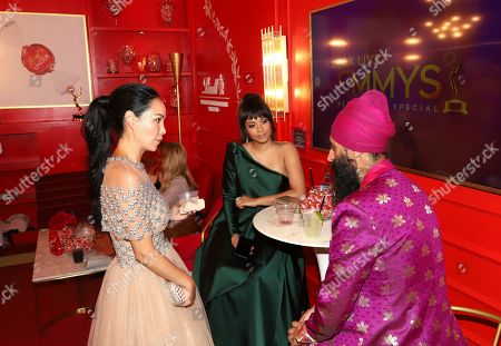 Mira Pak, Lilly Singh, Humble the Poet. Mira Pak, from left, Lilly Singh and Humble the Poet at the Lindt Chocolate Lounge at the 71st Primetime Emmy Awards, at the Microsoft Theater in Los Angeles