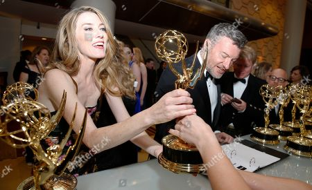"Annabel Jones, Charlie Brooker, Russell McLean. Annabel Jones, Charlie Brooker and Russell McLean accept the award for outstanding television movie for ""Black Mirror: Bandersnatch"" at the 71st Primetime Emmy Awards, at the Microsoft Theater in Los Angeles"