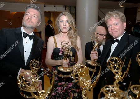 "Annabel Jones, Charlie Brooker, Russell McLean. Charlie Brooker, Annabel Jones and Russell McLean accept the award for outstanding television movie for ""Black Mirror: Bandersnatch"" at the 71st Primetime Emmy Awards, at the Microsoft Theater in Los Angeles"