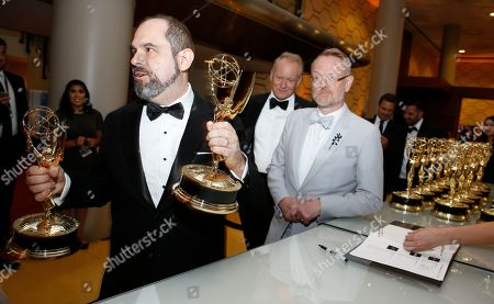 """Craig Mazin, winner of the award for outstanding writing for a limited series or movie for """"Chernobyl"""" at the 71st Primetime Emmy Awards, at the Microsoft Theater in Los Angeles"""
