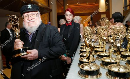 "George R. R. Martin, winner of the award for outstanding drama series for ""Game Of Thrones"" at the 71st Primetime Emmy Awards, at the Microsoft Theater in Los Angeles"