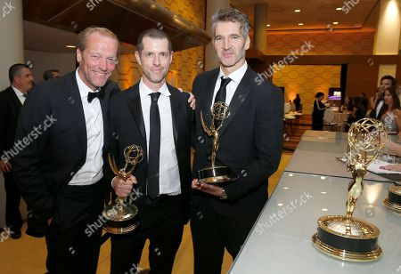 "Iain Glen, D.B. Weiss, David Benioff. Iain Glen, D.B. Weiss and David Benioff, winners of the award for outstanding drama series for ""Game Of Thrones"" at the 71st Primetime Emmy Awards, at the Microsoft Theater in Los Angeles"