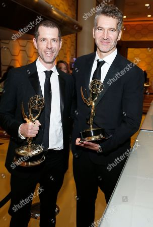"""D.B. Weiss, David Benioff. D.B. Weiss and David Benioff, winners of the award for outstanding drama series for """"Game Of Thrones"""" at the 71st Primetime Emmy Awards, at the Microsoft Theater in Los Angeles"""