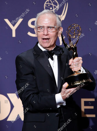 Don Roy King holds the Emmy for Outstanding Writing for a Variety Series for 'Saturday Nigh Live' at the 71st annual Primetime Emmy Awards ceremony held at the Microsoft Theater in Los Angeles, California, USA, 22 September 2019. The Primetime Emmys celebrate excellence in national primetime television broadcasting.