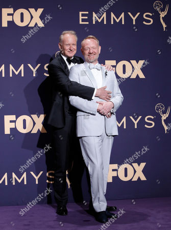 Stellan Skarsgard (L) and Jared Harris pose in the Press Room at the 71st annual Primetime Emmy Awards ceremony held at the Microsoft Theater in Los Angeles, California, USA, 22 September 2019. The Primetime Emmys celebrate excellence in national primetime television broadcasting.
