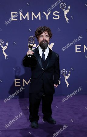 Peter Dinklage holds the Emmy for Outstanding Supporting Actor in a Drama Series for 'Game of Thrones' at the 71st annual Primetime Emmy Awards ceremony held at the Microsoft Theater in Los Angeles, California, USA, 22 September 2019. The Primetime Emmys celebrate excellence in national primetime television broadcasting.