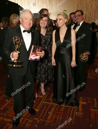 "Lorne Michaels, Aidy Bryant, Kate McKinnon. The team from ""Saturday Night Live"", winners of the award for outstanding variety sketch series at the 71st Primetime Emmy Awards, at the Microsoft Theater in Los Angeles"