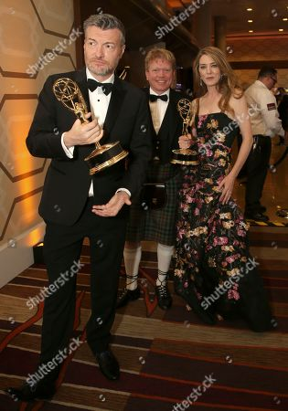 "Annabel Jones, Charlie Brooker, Russell McLean. Charlie Brooker, Russell McLean and Annabel Jones, winners of the award for outstanding television movie for ""Black Mirror: Bandersnatch"" at the 71st Primetime Emmy Awards, at the Microsoft Theater in Los Angeles"