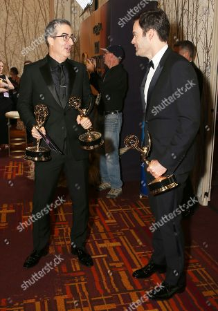 "John Oliver, Bill Hader. John Oliver, winner of the award for outstanding writing for a variety series and Bill Hader, winner of the award for outstanding lead actor in a comedy series for ""Barry"" at the 71st Primetime Emmy Awards, at the Microsoft Theater in Los Angeles"