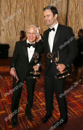 """Don Roy King, Bill Hader. Don Roy King, winner of the award for outstanding directing for a variety series for """"Saturday Night Live"""" and Bill Hader, winner of the award for outstanding lead actor in a comedy series for """"Barry"""" at the 71st Primetime Emmy Awards, at the Microsoft Theater in Los Angeles"""