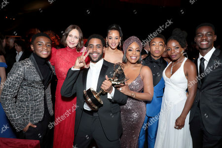 """Caleel Harris, Vera Farmiga, Jharrel Jerome, Dascha Polanco, Niecy Nash, Asante Blackk, Marsha Stephanie Blake, Ethan Herisse. Caleel Harris, from left, Vera Farmiga, Jharrel Jerome, Dascha Polanco, Niecy Nash, Asante Blackk, Marsha Stephanie Blake and Ethan Herisse, winners of the award for outstanding lead actor in a limited series or movie for """"When They See Us,"""" attend the 71st Primetime Emmy Awards Governors Ball, at the Microsoft Theater in Los Angeles"""